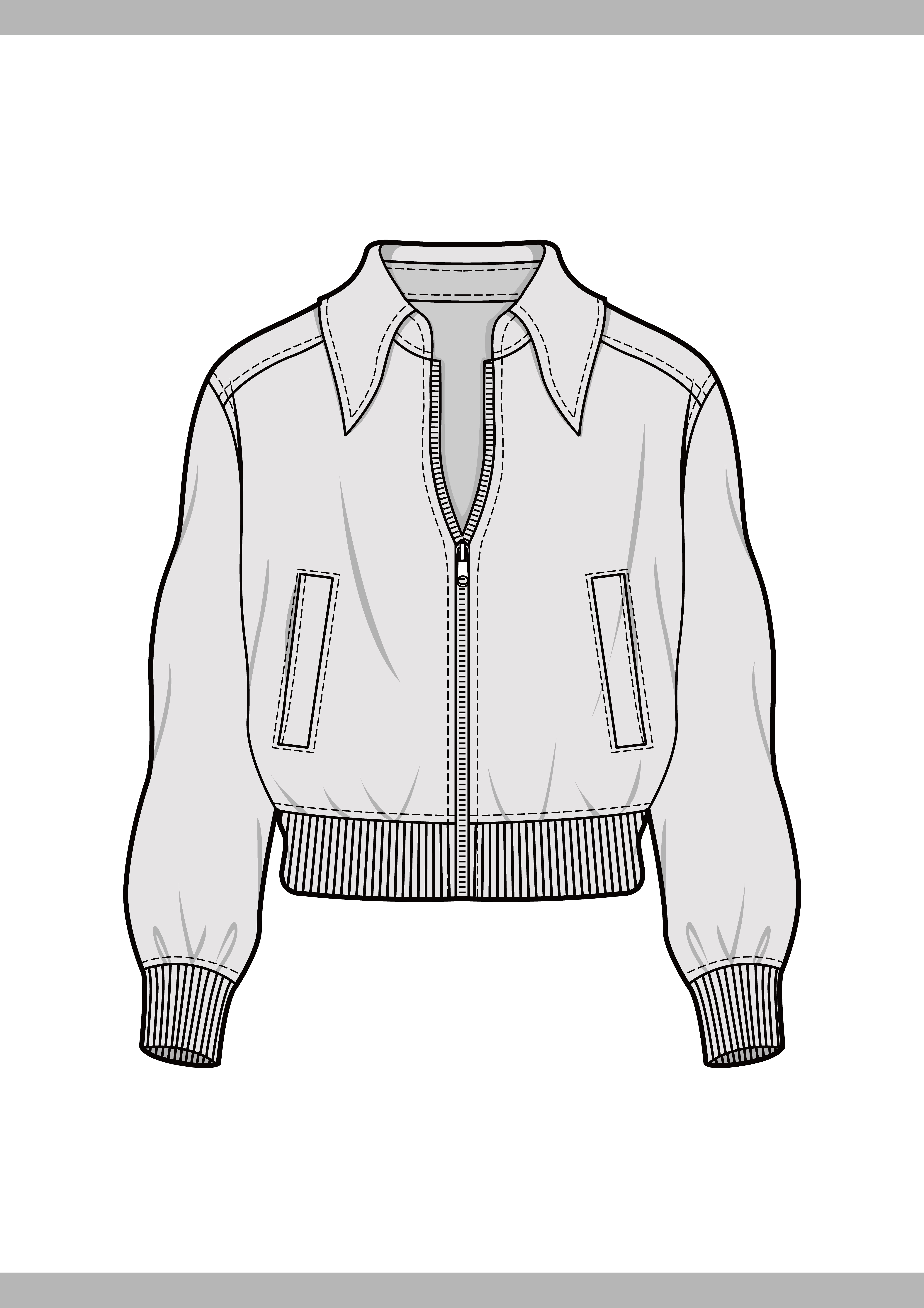 outer jacket fashion flat technical drawing template