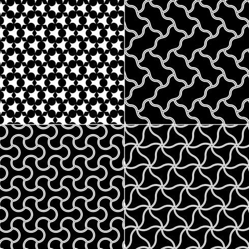 Vector i modelli senza cuciture geometrici messi, struttura in bianco e nero.
