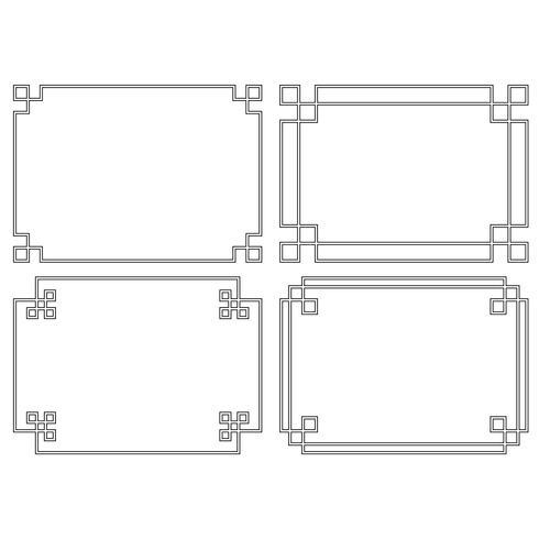 black rectangular fretwork frames