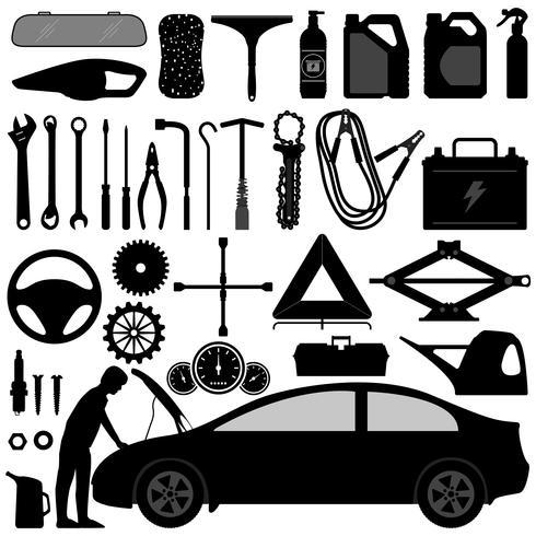 Auto acessórios e ferramentas vetor