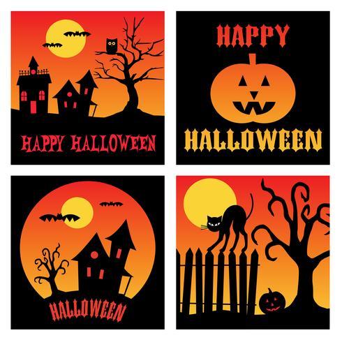 gráficos cuadrados de halloween vector