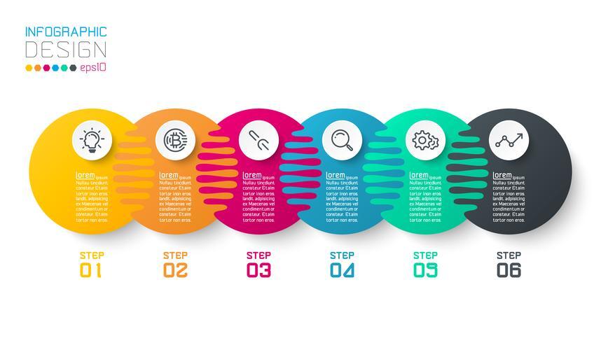 Sic harmoniska cirkel infographics.