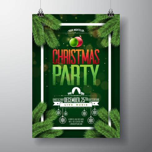 Diseño de Flyer fiesta de Navidad vector con elementos de tipografía de vacaciones