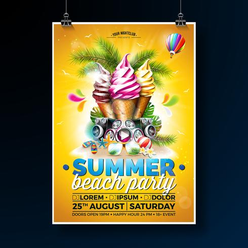 Design Flyer Summer Beach Party con gelato e altoparlanti vettore