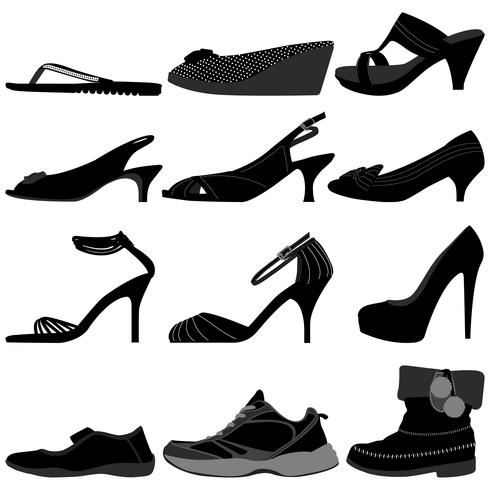 Women's Footwear set.  vector