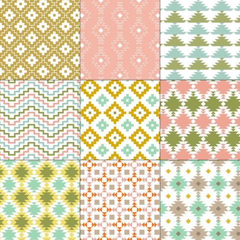 pastel nativos americanos patrones geométricos vector