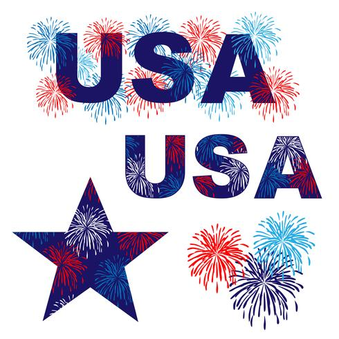 USA-Grafiken mit roten weißen blauen Feuerwerken