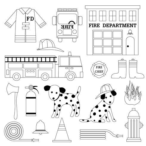 grafica contorno nero pompiere vettore