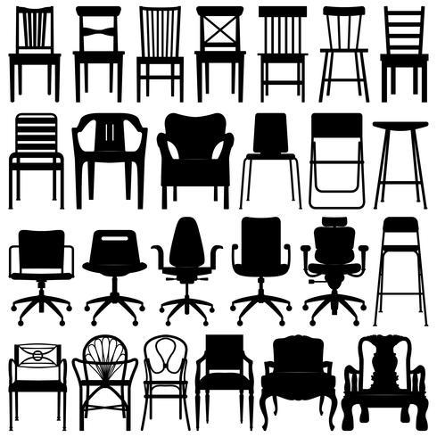 Conjunto de silhueta preta de cadeira.