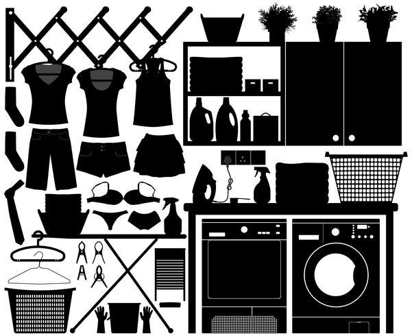 Wäscherei-Design-Set.