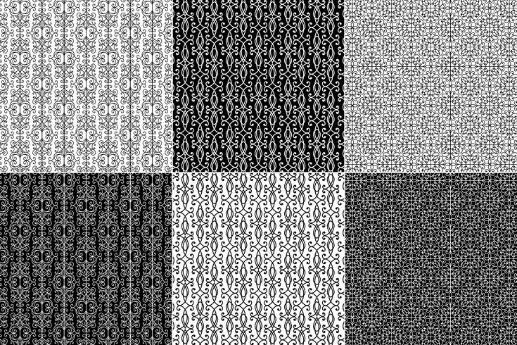 Black & White Wrought Iron Patterns vector