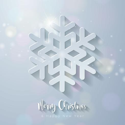 Merry Christmas Illustration with Cut-Out Snowflake