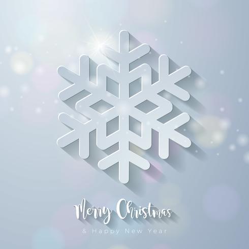 God julillustration med utklippt snöflinga vektor