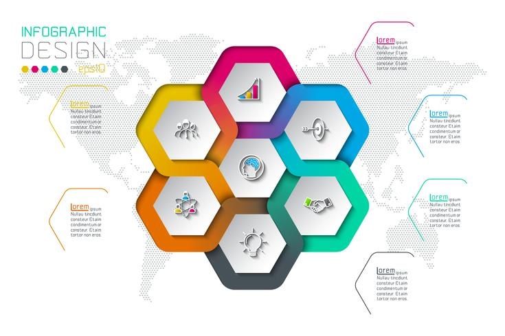 Hexágono de negocios etiquetas infografía de forma en círculo. vector