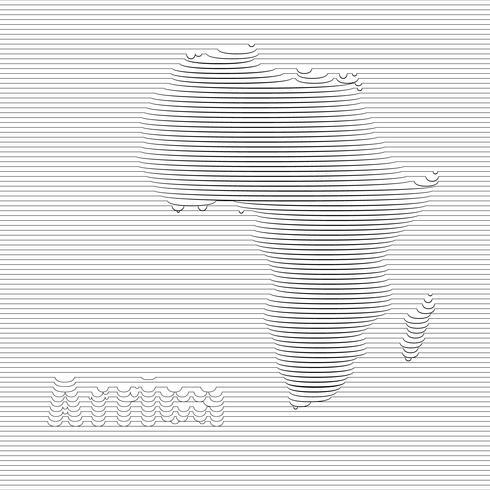 Abstrakte Linie von Afrika-Karte auf vektorgrafischer Kunst.