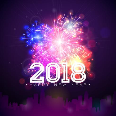 Illustration de bonne année 2018 vecteur