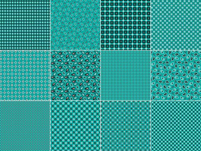 Patrones de pañuelo turquesa vector