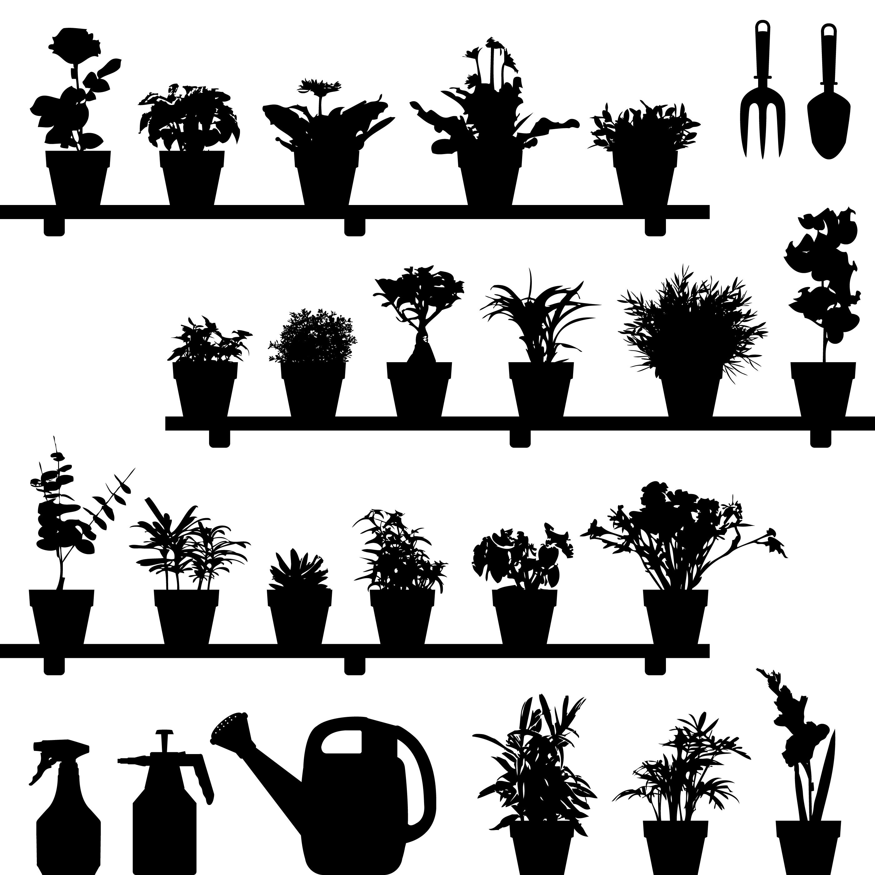Flower Plant Pot Silhouette Download Free Vector Art