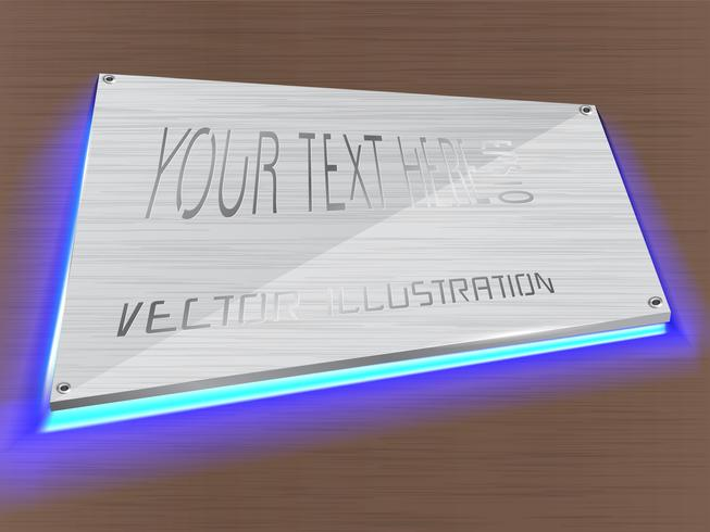 Etiqueta acrílica decorada con luz LED sobre etiqueta.