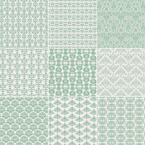 Light Green Damask Patterns vector