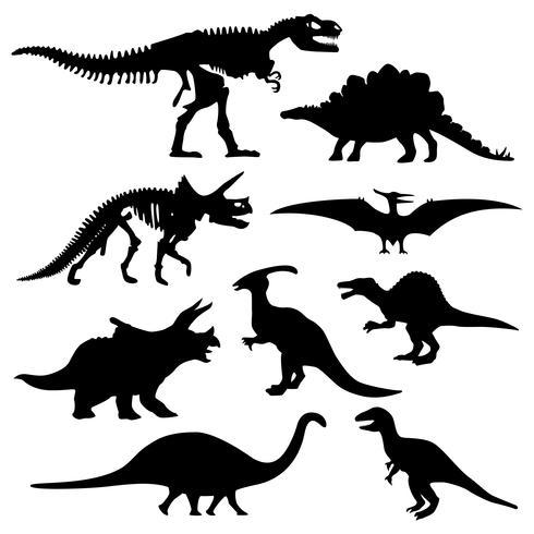 Dinosaurus silhouet ingesteld