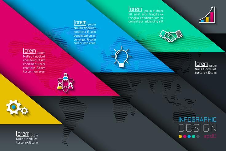 Cinco etiquetas con infografías de iconos de negocios.