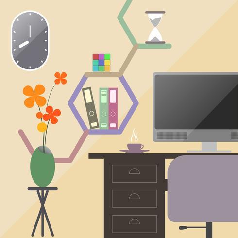 Office room in flat design vector