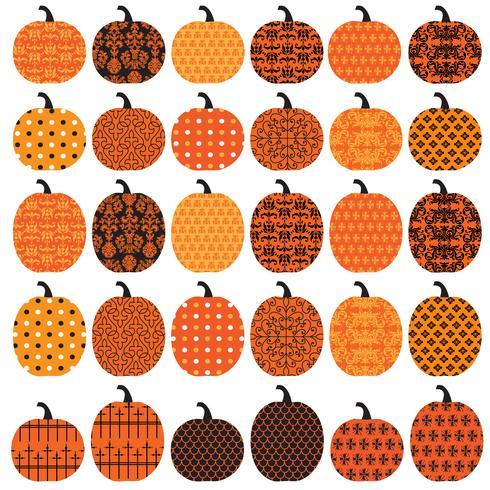 Halloween Patterned Pumpkins vector