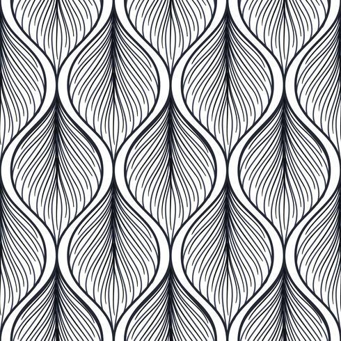Patrón sin fisuras con forma abstracta de la pluma.