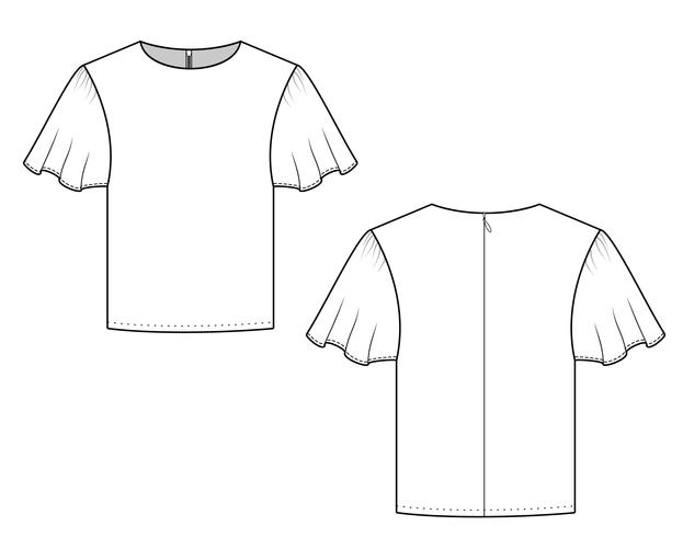 Blouse fashion flat technical drawing template
