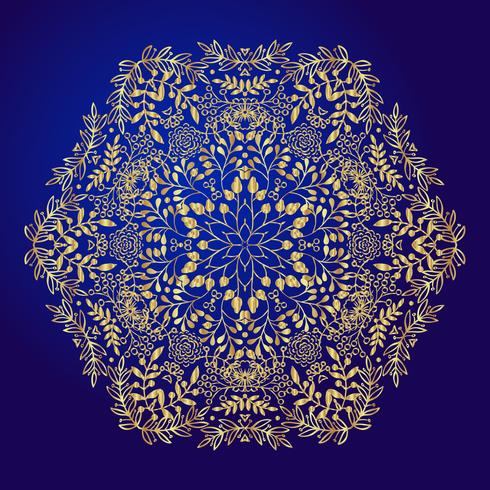 Mandala, amuleto. Símbolo de oro esotérico sobre un fondo azul. vector