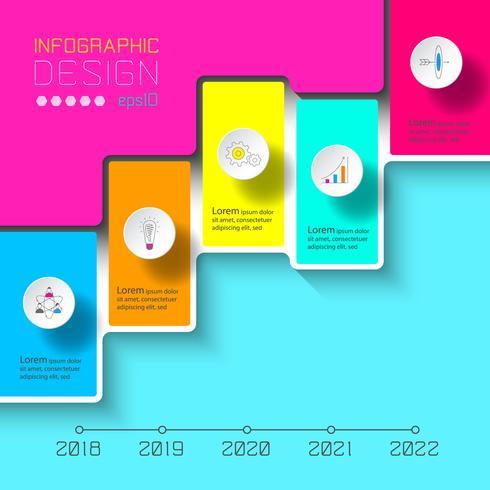 Vector Infographics na linha do tempo ou processo de passos.