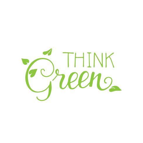 Piensa en letras verdes con hojas de protección día de la tierra.