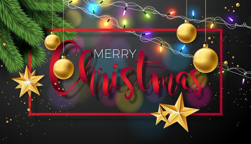 Vrolijke Kerstmisillustratie op zwarte achtergrond vector
