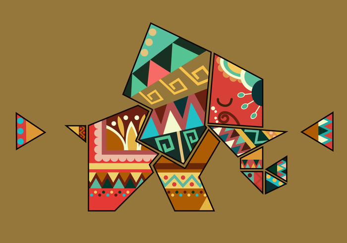 Bohemian Color Geometric Shape Elephant Vector
