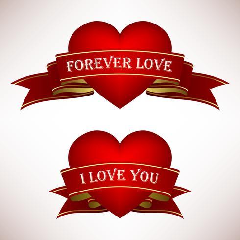 Valentine Love Heart Ribbon Scroll Banner. vektor
