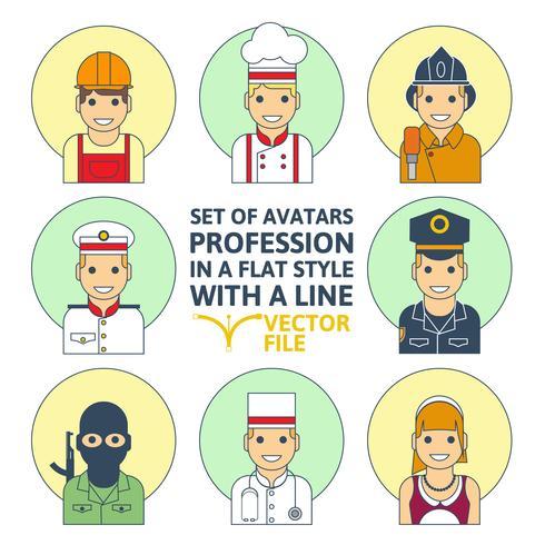 Conjunto de estilo plano de pessoas diferentes profissão colorido vetor