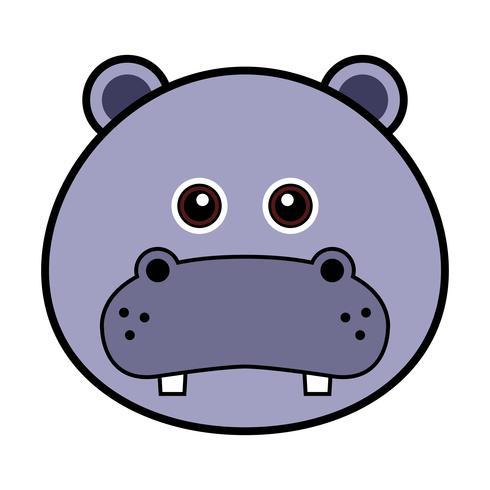 Cara linda del hipopótamo. vector