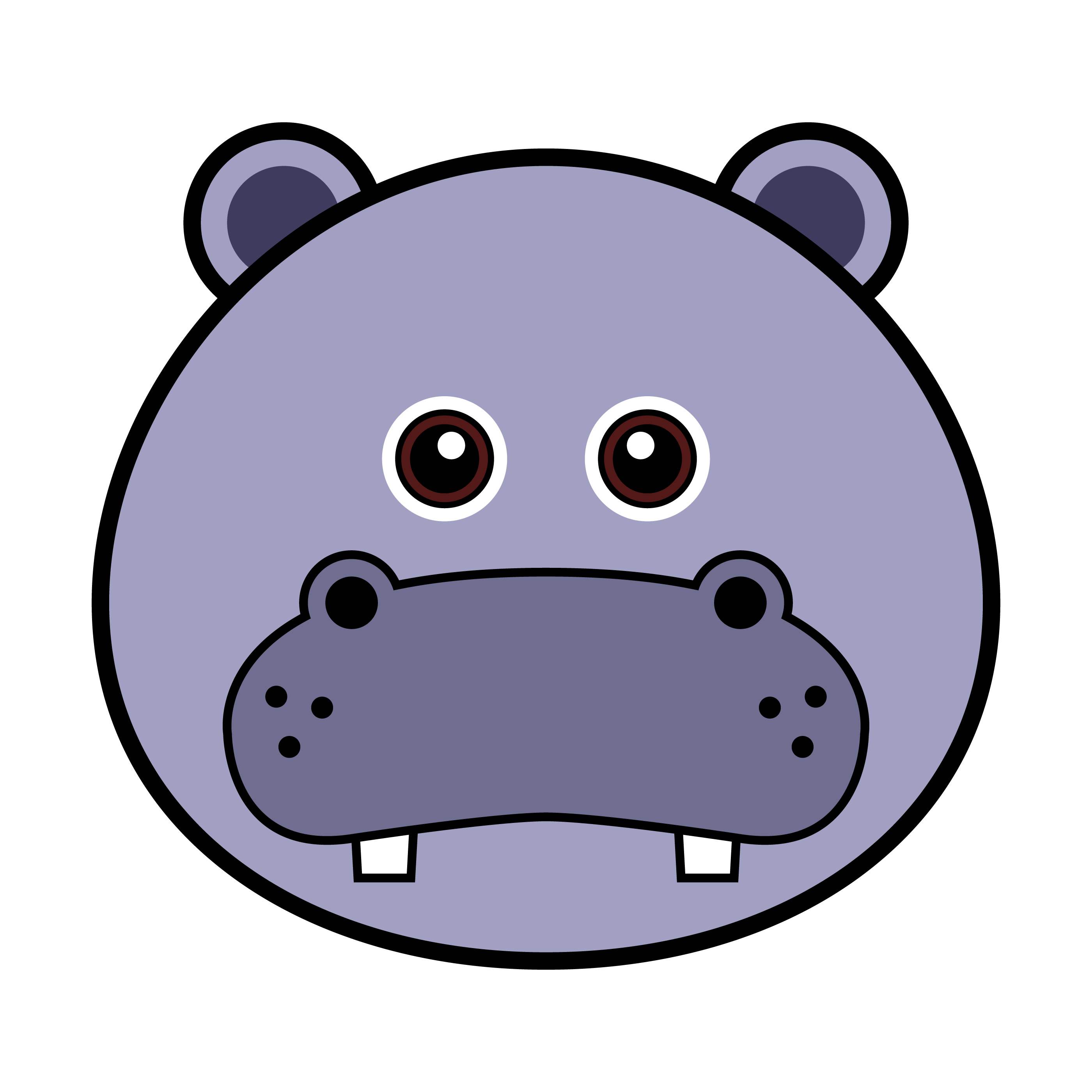 Cute Hippo Face. - Download Free Vectors, Clipart Graphics ...
