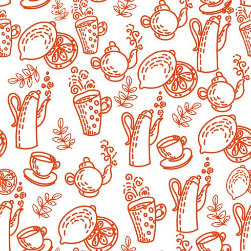 Röd sömlös mönster med te koppar. vektor