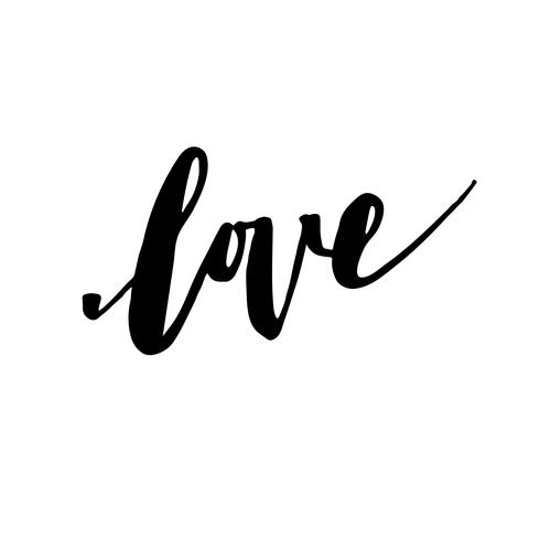 Inscription love, hand-drawn labels for greeting cards,  vector