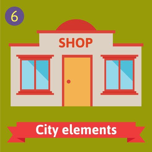 Store buildings flat vector