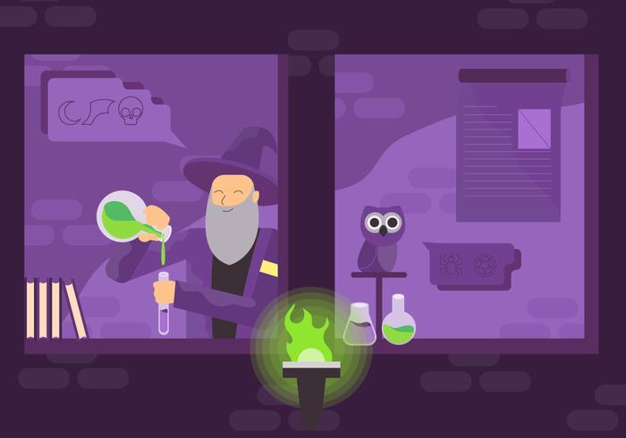 Old Man Experiment Magic in Wizard School Vector Illustration