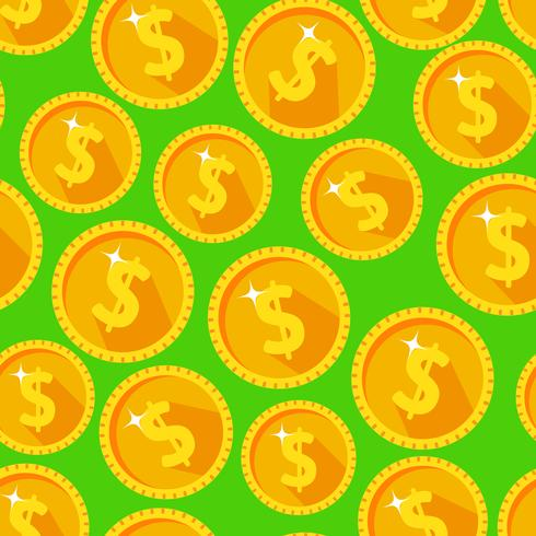 Seamless texture with golden coins vector