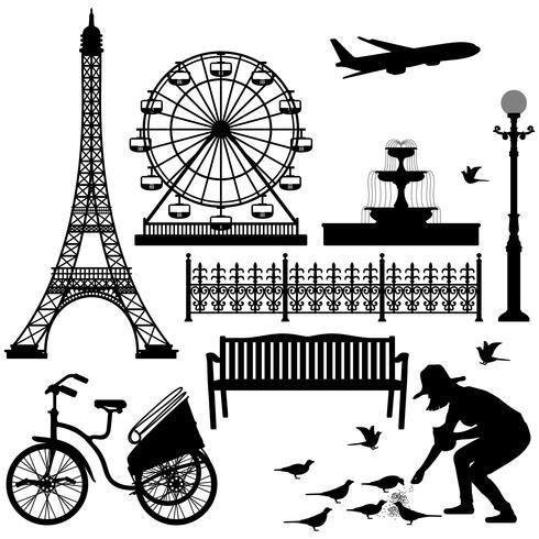 Reuzenrad van de Eiffeltoren van Parijs. vector