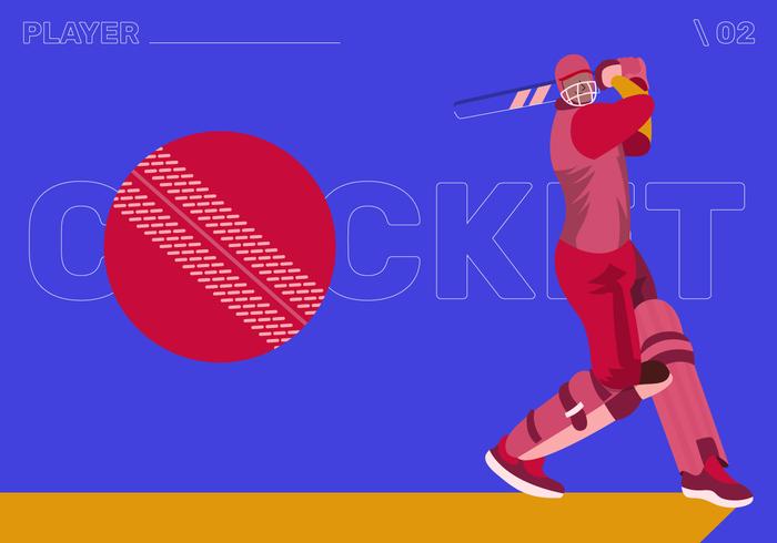 cricket spelare karaktär vektor platt illustration