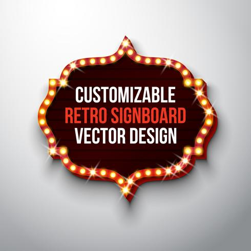 Retro skylt eller ljuslåda illustration vektor