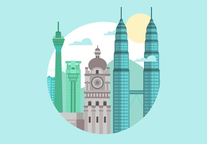 Malaysia Kuala Lumpur Landmark Flat Vector Illustration