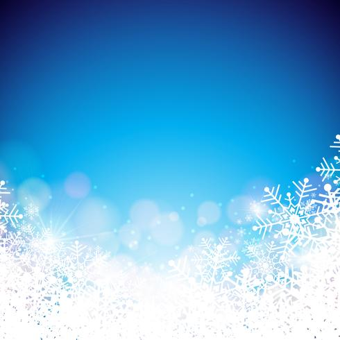 Christmas Theme with Snowflakes on Blue Background
