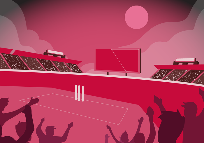 Cricket Stadium Background Vector Flat Illustration